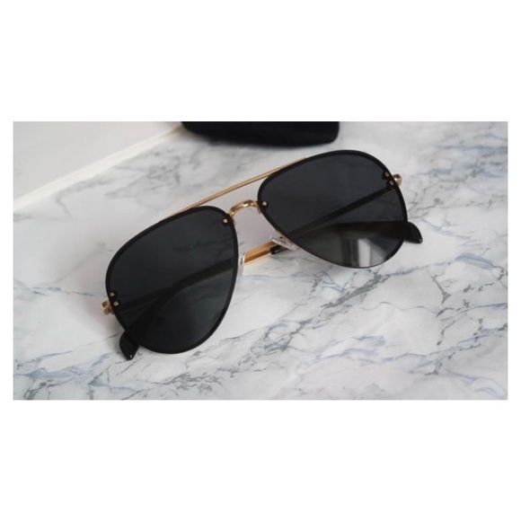 afeea149ec2 Celine Accessories - Céline Black Gold Aviator Sunglasses